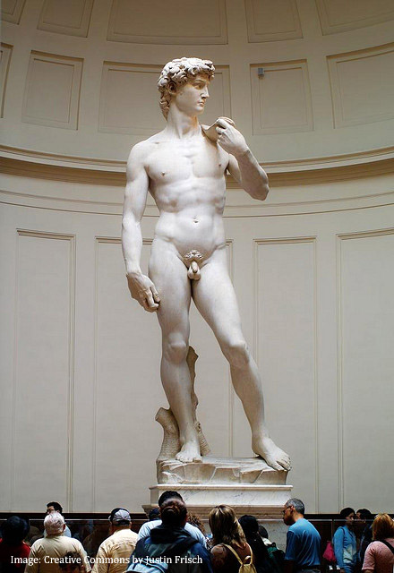 Full body of Michelangelo's statue of David, Florence, Ital. Creative Commons.