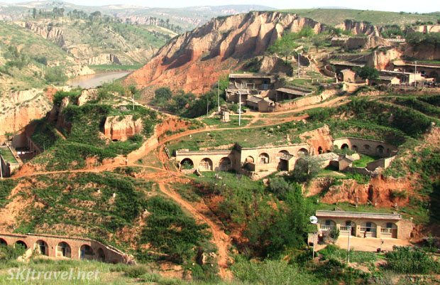 View of the rural peasant village of Dang Jiashan in Shaanxi Province, China. Cave homes dug into the hillsides. Photo by Shara Johnson