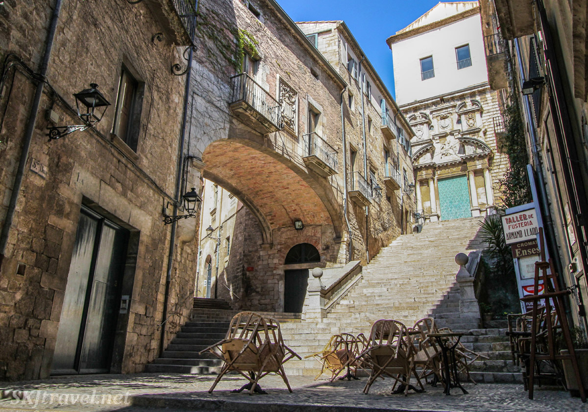 Steps and cafe below Sant Marti Convent, Girona, Spain, filming location for Free City of Essos in Game of Thrones.