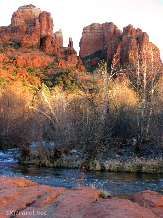 Sedona, Arizona, cliffs of red rocks at sunset.