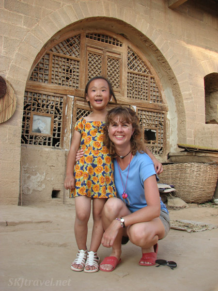 Me and Lei-Lei in Mama and Papa Dang's courtyard in the rural village, Dang Jia Shan, Shaanxi Province, China.