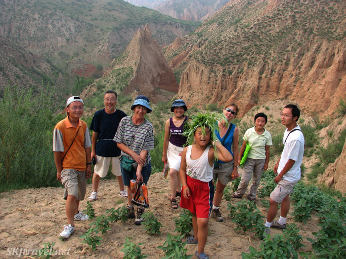 The crew climbing up to the high plateau above Dang Jiashan Valley, Shaanxi Province, China.