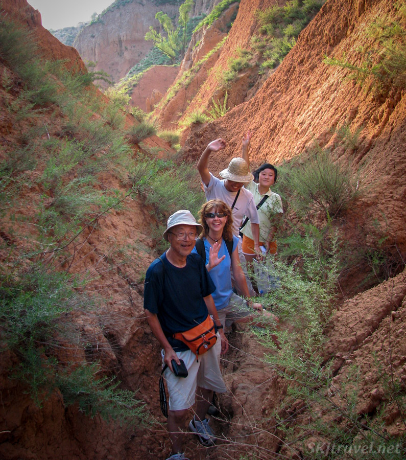 Takeshi, me, and the village crew hiking around Dang Jiashan village, Shaanxi Province, China.