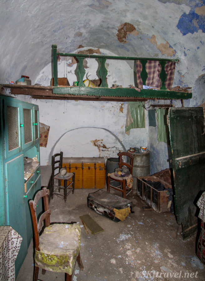Small loft inside the kitchen in an abandoned home in the old medieval village of Mesta on Chios Island, Greece.