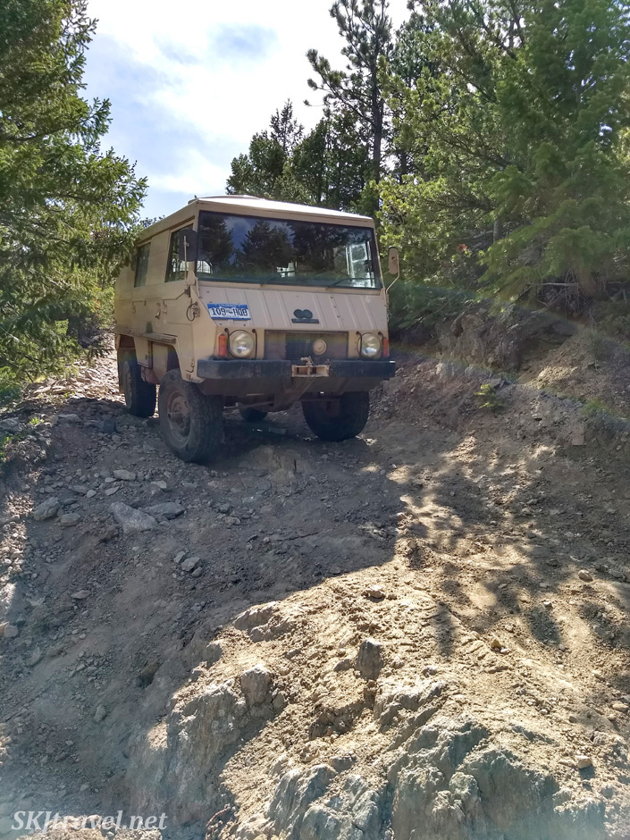 Pinzgauer 710K perched above a steep pitch on a side spur of the Switzerland Trail, near Nederland, Colorado.