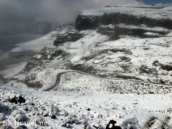 Sani Pass between Lesotho and South Africa just after a snow storm. Photo by Shara Johnson
