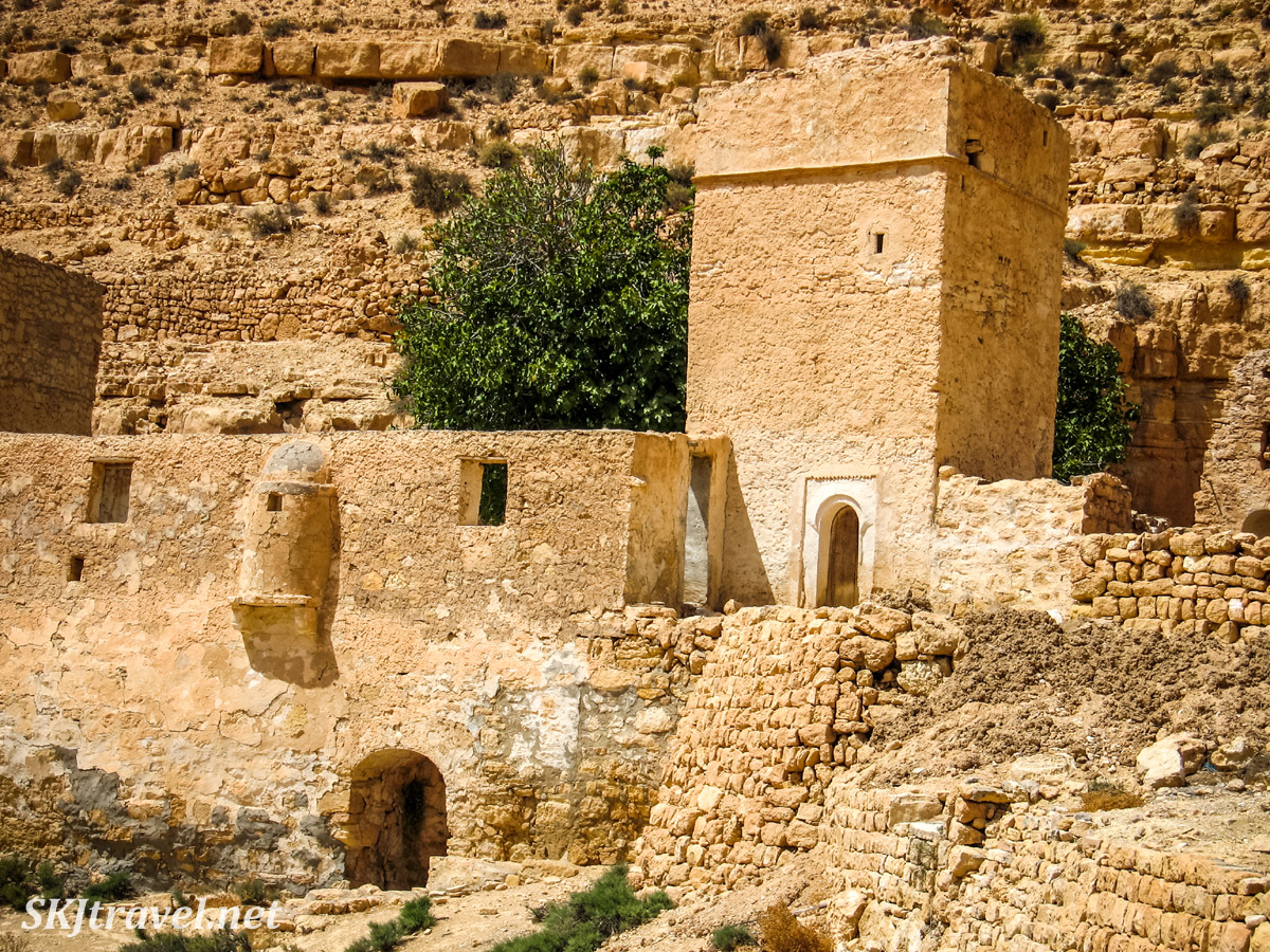 Abandoned berber ksar village of Douiret, Tunisia, built of stone perched high on a hilltop.