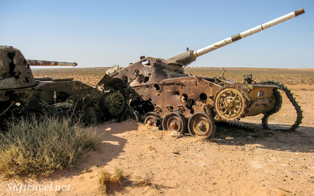 1940s 1950s era war tanks abandoned in the desert, Tunisia.