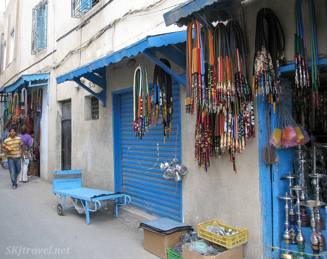Stores with hundreds of hooka pipes for sale in the medina of Tunis, Tunisia.