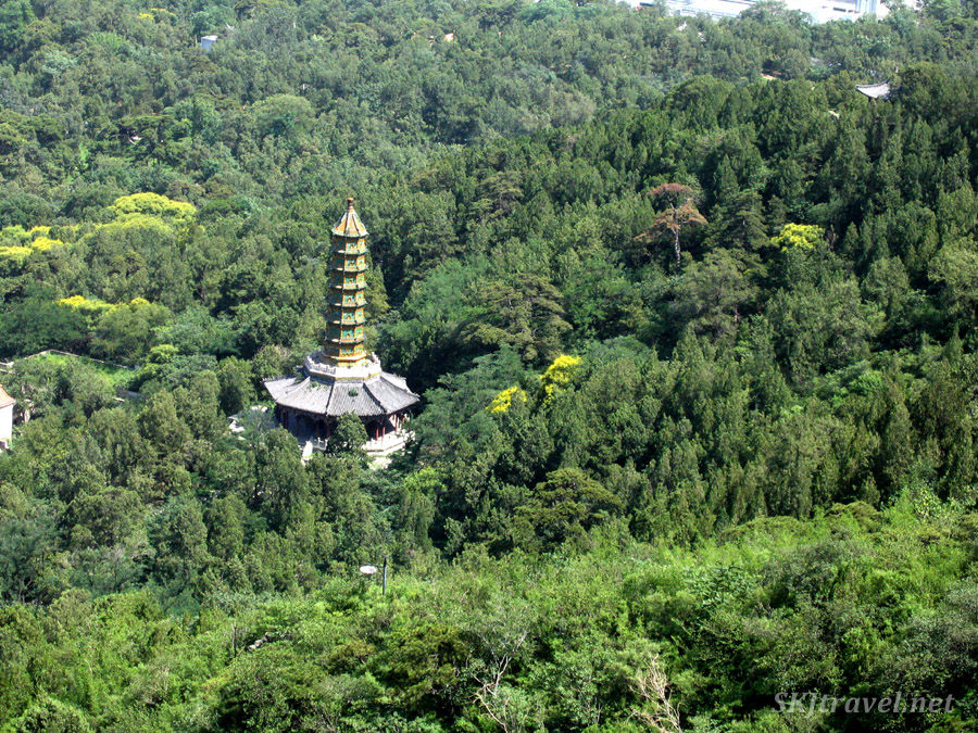 Tall pagoda in the Fragrant Hills outside Beijing, China.