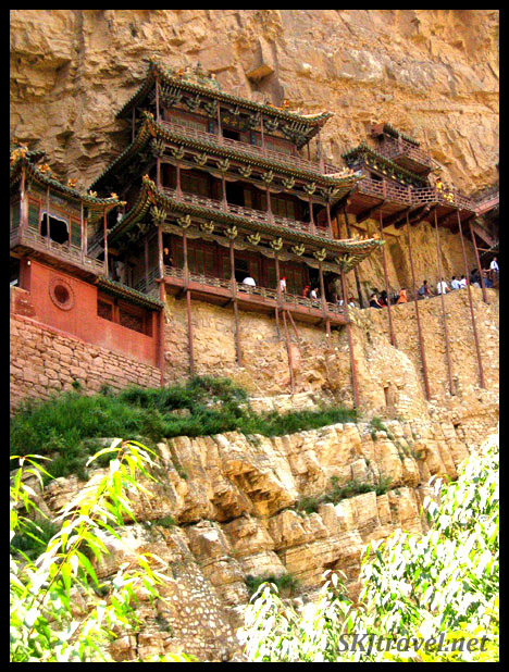 The Hanging Monastery outside Datong, China, clings to the cliffside as if it's staped to the rock.