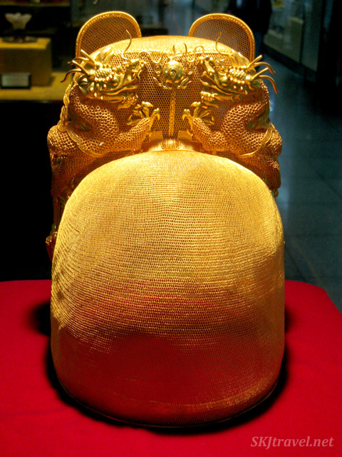 Imperial gold crown on display at the Ming Tombs outside Beijing, China.
