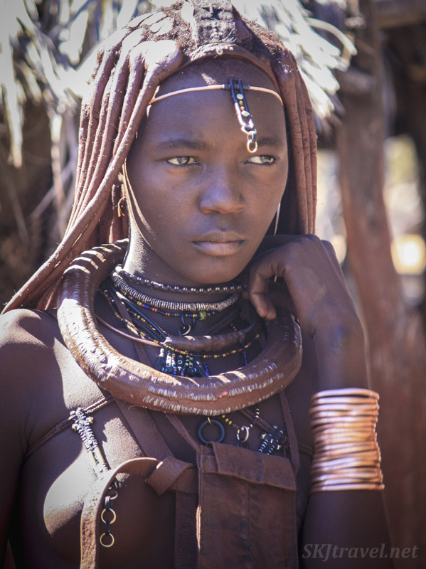Traditional Himba princess, Kaokoland, Namibia.