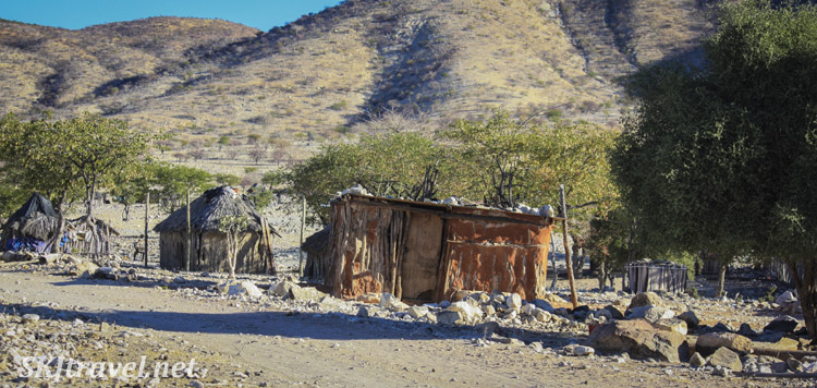 Homes in a non-traditional village near Epupa Falls, Kaokoland, Namibia.