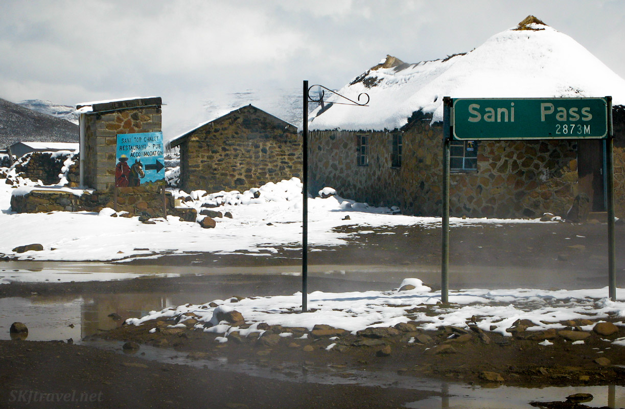 Sani Pass Chalet in the snow, Lesotho.
