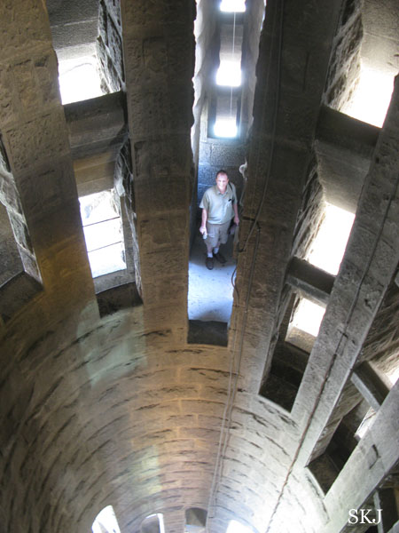 Looking down through the stairwell inside the Sagrada. photo by Shara Johnson