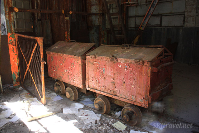 Mining carts inside the shaft house for the Eagle Mine, abandoned in Gilman, Colorado.