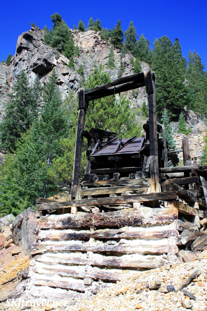 Old mining equipment along abandoned railroad tracks leading to Gilman, Colorado.