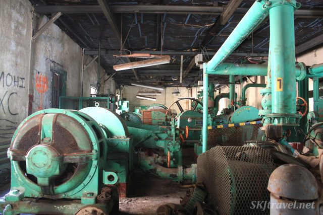 Inside the pump house at the abandoned train station at Gilman, Colorado.