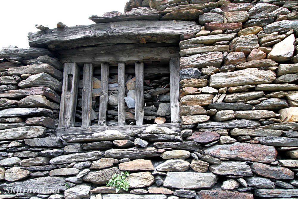 Abandoned stone-built farmstead in the hills of Andorra.