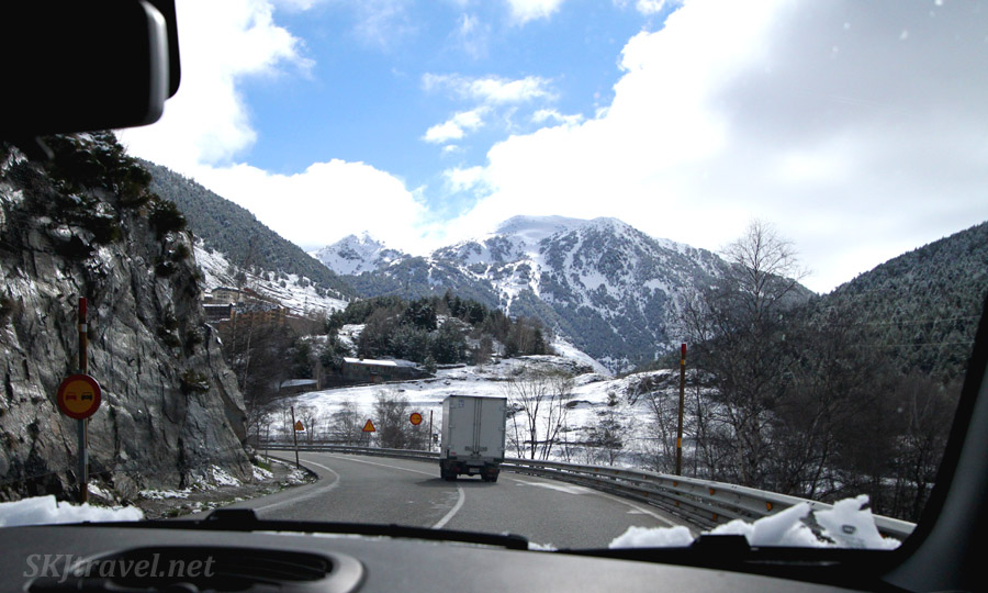 Driving the main highway through Andorra in April.