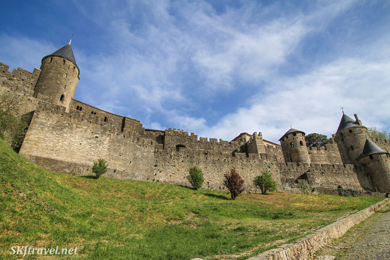 Outside the medieval walled city of Carcassonne, France.