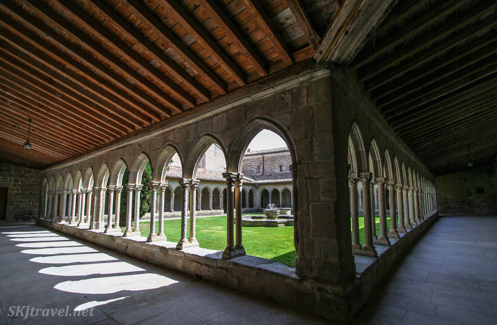 The cloister at Abbey St. Hilaire, Languedoc region, France.
