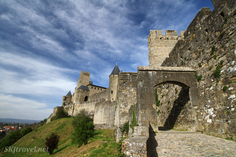 Outer walls of the fortress of Carcassonne, France.