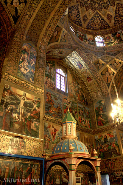 Richly painted interior of Vank Cathedral in Jolfa, the Armenian Quarter in Isfahan, Iran.