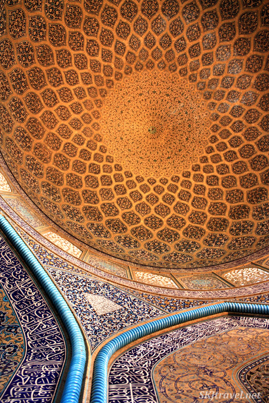 Looking up at the peacock ceiling in the Imam Mosque, Isfahan, Iran.