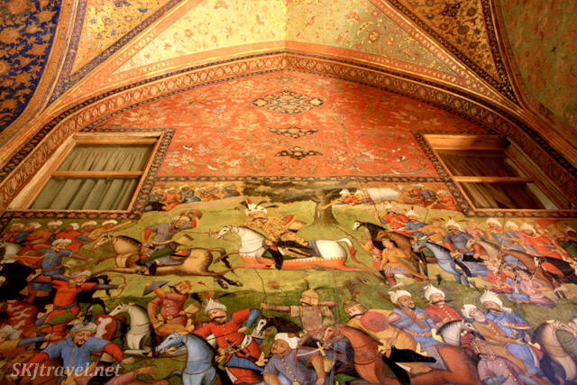 Fresco of a battle scene inside Chehel Sutun. Isfahan, Iran.