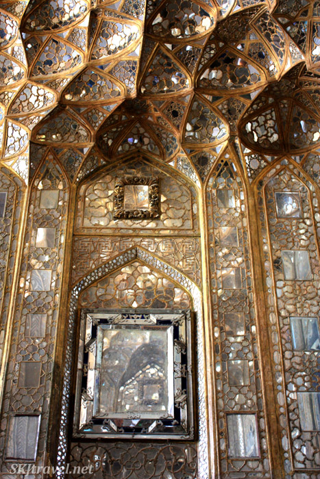 A honeycomb of mirrors lines the walls and ceiling of the entry hall at Chehel Sutun, or Forty Column Palace, in Isfahan, Iran.