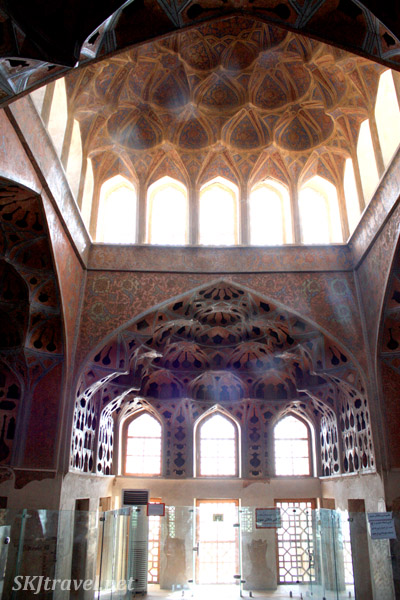 Inside the upper level of Ali Qapu, Isfahan, Iran.