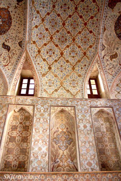 Painted interior walls with windows. Ali Qapu in Isfahan, Iran.
