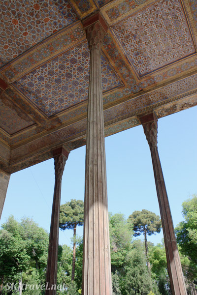 Looking up the columns of the front porch that given Chehel Sutun its name of Forty Column Palace. Isfahan, Iran.