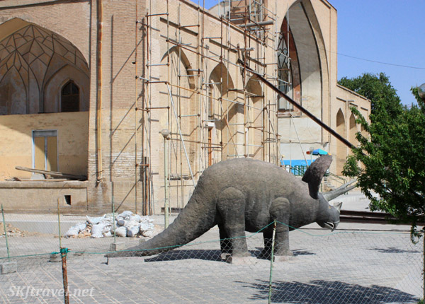 Dinosaur casually hanging out outside Chehel Sutun, Isfahan, Iran.