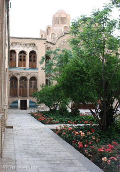 Rose bushes in the inner courtyard in the Borujerdi House in Kashan, Iran.