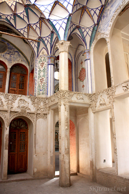 Painted interior of Borujerdi historical house in Kashan, Iran.