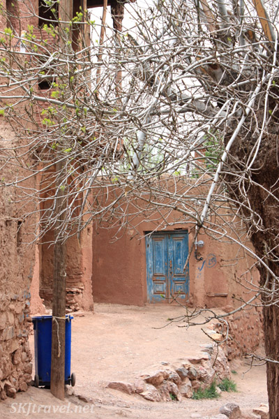A blue door in the red village, Abyaneh, Iran.