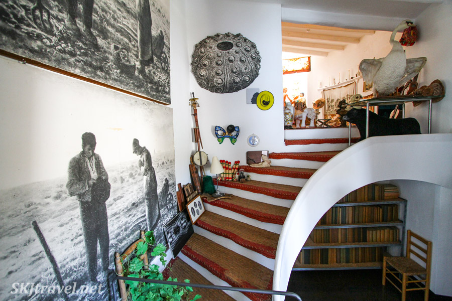 Interior of the Dali house museum in Portlligat, Spain. Farmer couple, recurrent theme in Dali's works.