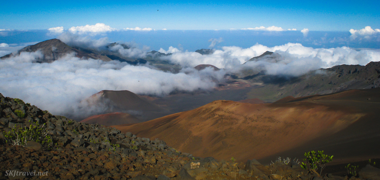 Looking down from the summit of Haleakala volcano into the caldera, Maui, Hawaii.