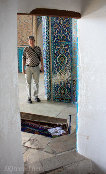 Erik standing where the Imam stands, outside the corridor where women stand to talk to him. Friday Mosque in Yazd, Iran.