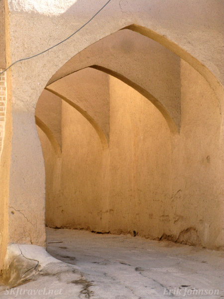 Arched alleyway in the old town bazaar of Yazd, Iran.