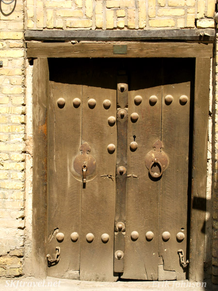Door with both men's and women's knockers in the bazaar in Yazd, Iran.