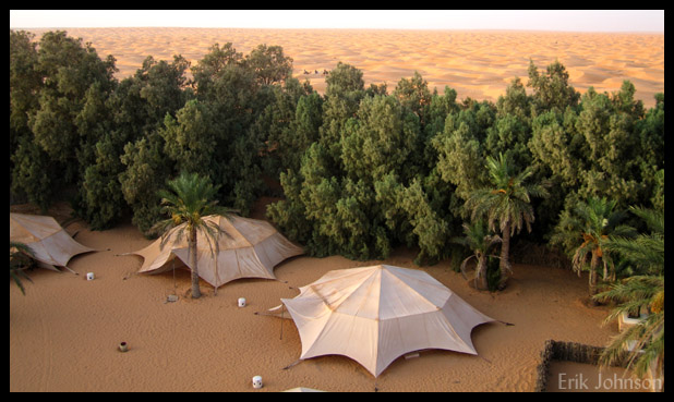 Tented accommodations at the oasis of Ksar Ghilane at the edge of the Sahara.