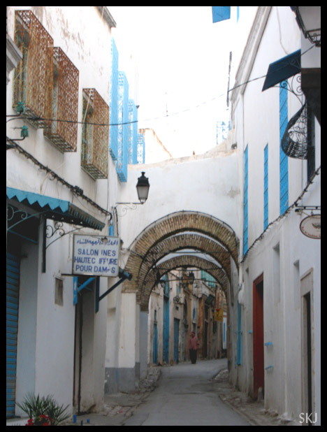 Narrow alley in the medina in Tunis, Tunisia.