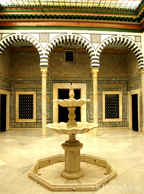 Fountain in a courtyard in Bardo museum Tunisia. photo by Shara Johnson