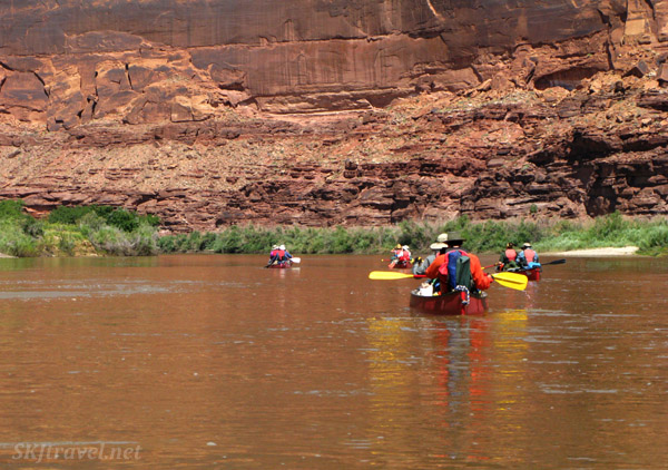 Paddling our canoes down the Green River, Utah.