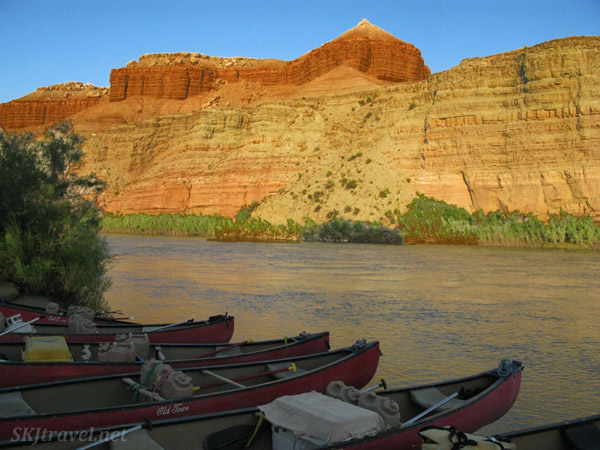 Canoes shored up for the night at camp along the Green River, Utah.