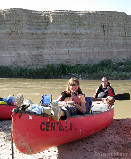 Shara and Erik in their canoe with Centennial Canoe outfitters, Green River, Utah.